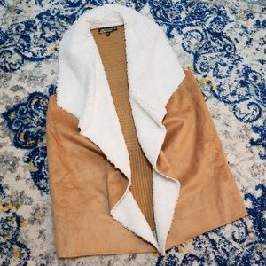 Tan Suede Shearling Knit Vest Absolutely Famous M